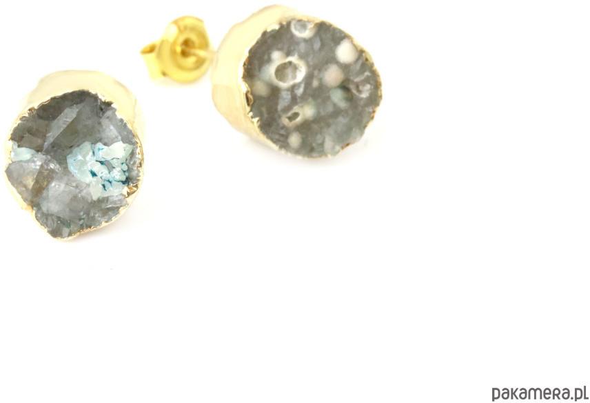 Earrings Agat Druza Magia Zieleni złoto