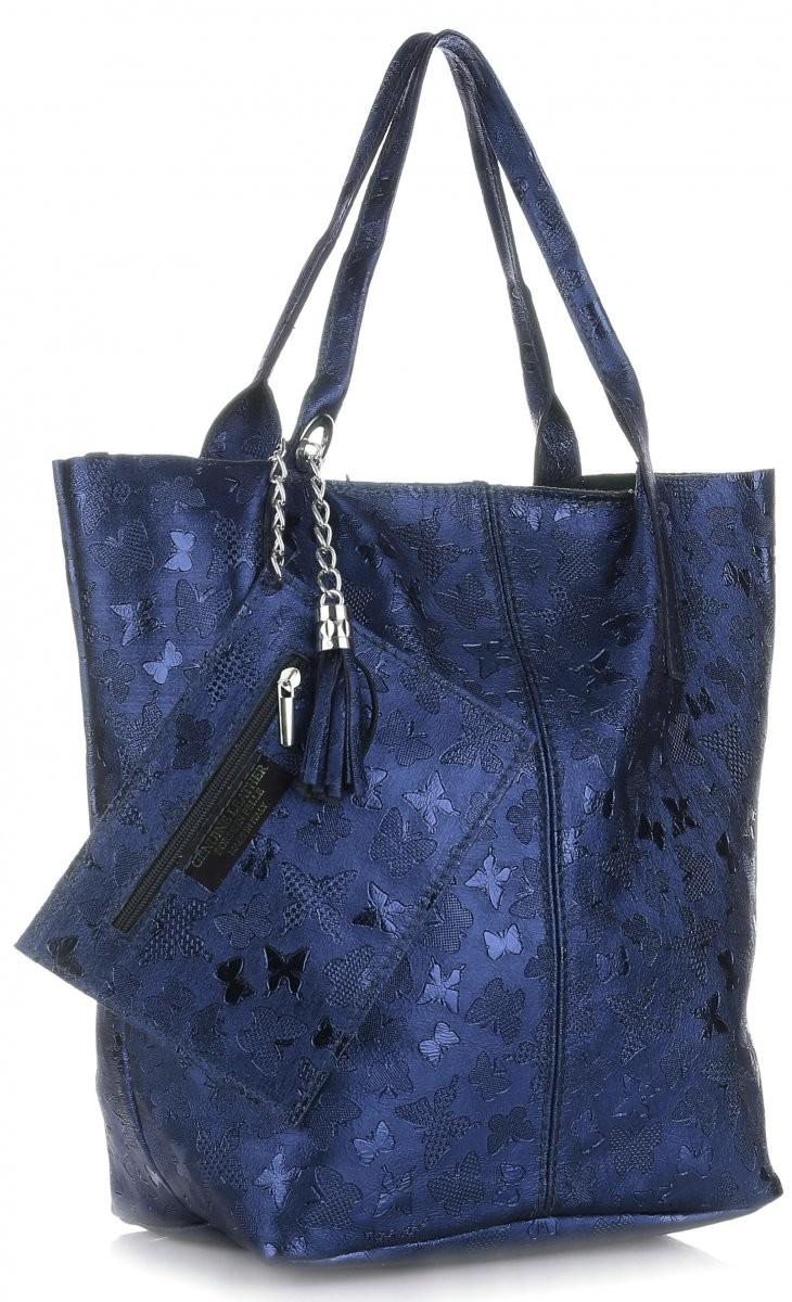 8dfb12f2b8d4b Genuine Leather Uniwersalna Torebka Skórzana ShopperBag firmy w Motyle  Granatowa (kolory) 555mmgr