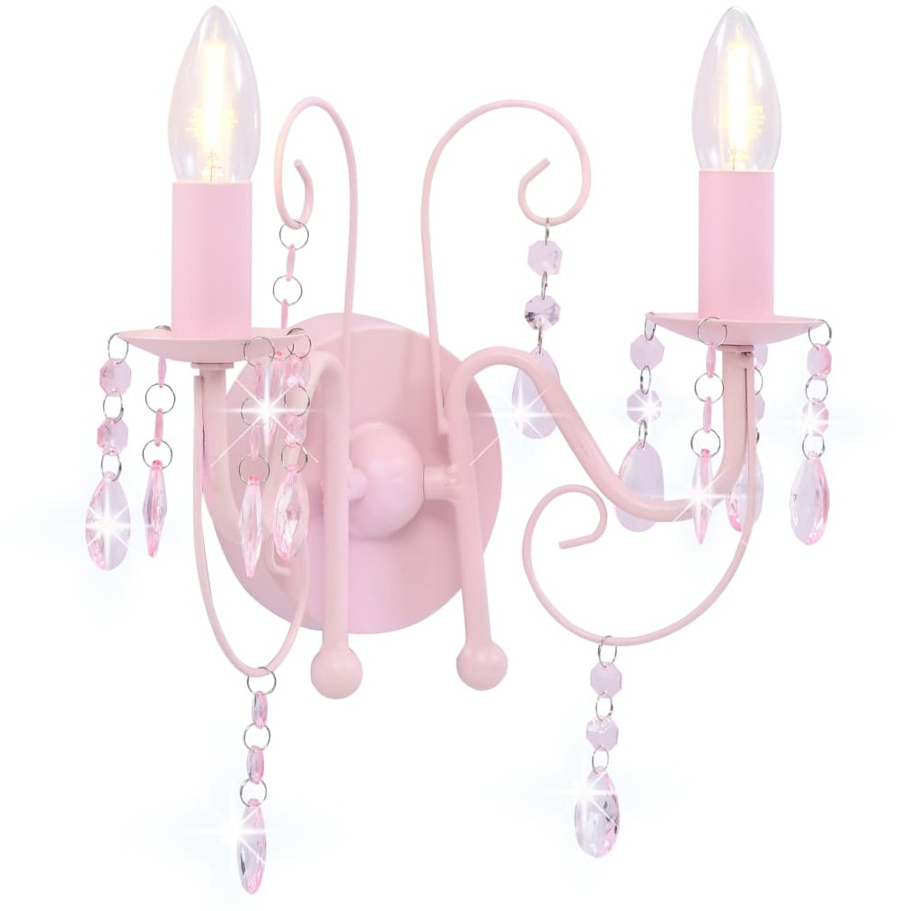 vidaXL Lampa ścienna z koralikami, różowa, 2 żarówki E14