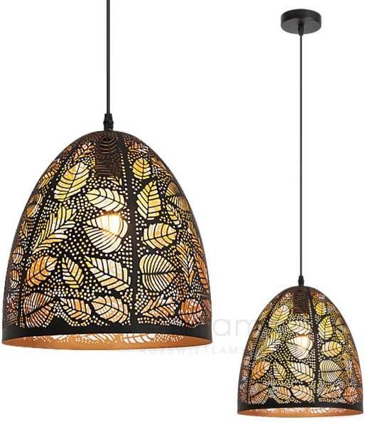 Rabalux LAMPA wisząca MANORCA 2277 metalowa OPRAWA orientalny ZWIS liście vintage czarny złoty 2277