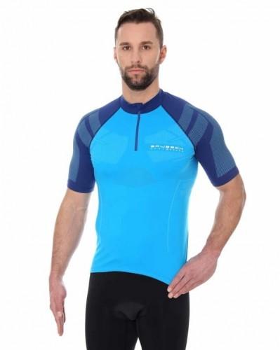 Brubeck Koszulka rowerowa krótki rękaw z suwakiem Unisex SS12390 Lazurowy/Niebieski