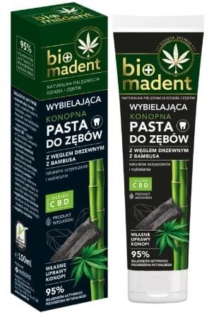Madonis BIO MADENT Konopna wybielająca pasta do zębów z węglem drzewnym z bambusa 100 ml MAD-BIO-0004