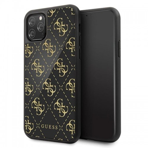 Guess Double Layer Glitter Case Peony G - Etui iPhone 11 Pro (Black)
