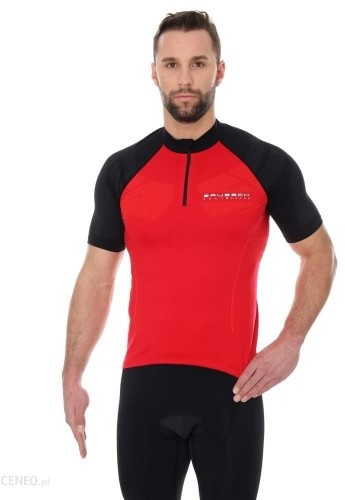 Brubeck Koszulka rowerowa krótki rękaw z suwakiem Unisex SS12390 Czerwony/Czarny