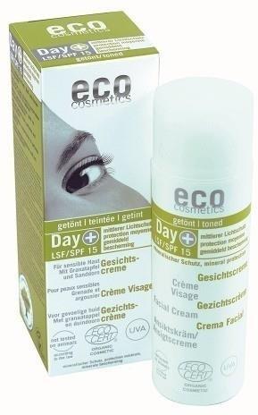 Eco Cosmetics Day+ Tonowany krem do twarzy na dzień LSF/SPF 15 z owocem granatu i rokitnikiem GreenLine-863-uniw