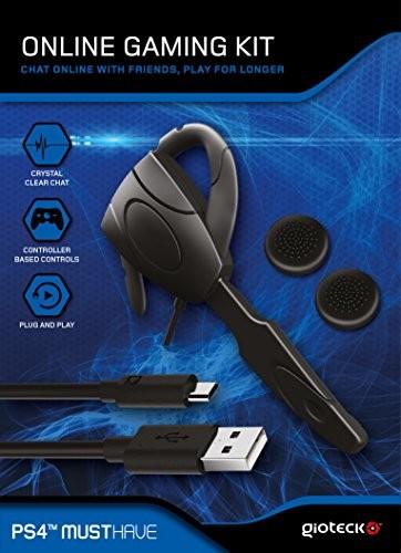 Gioteck OGKPS4-11-MU zestaw do gier online dla PS4 (zestaw słuchawek przewodowych, kabel do ładowania, uchwyty kciuka) Playstation 4 czarny OGKPS4-11-MU
