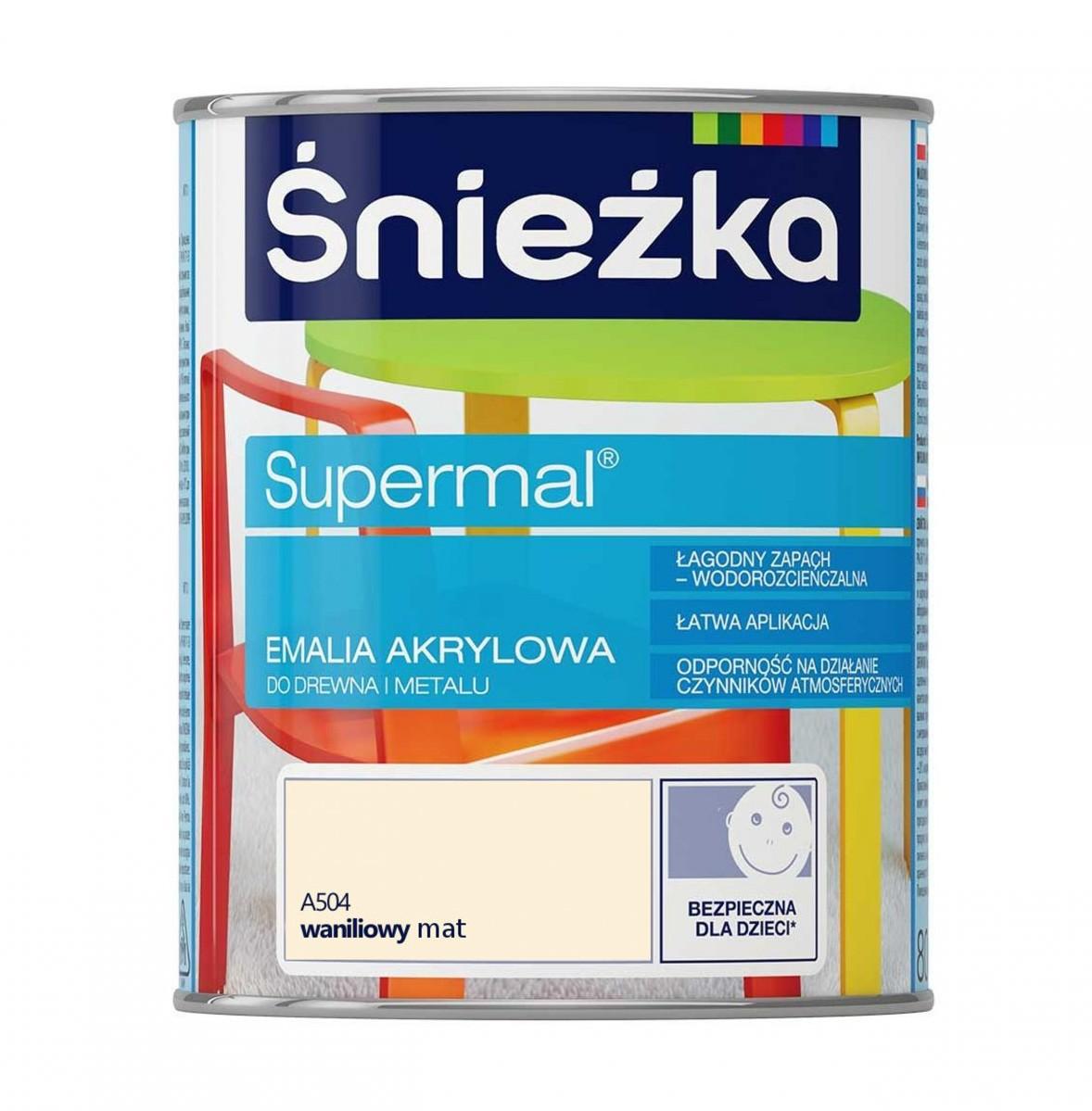 ŚNIEŻKA ŚNIEŻKA SUPERMAL EMALIA AKRYLOWA A504 WANILIOWY MAT  0,8L