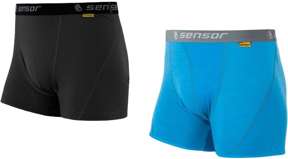 Sensor szorty męskie Merino Active 2 Pack Czarne/Niebieskie S