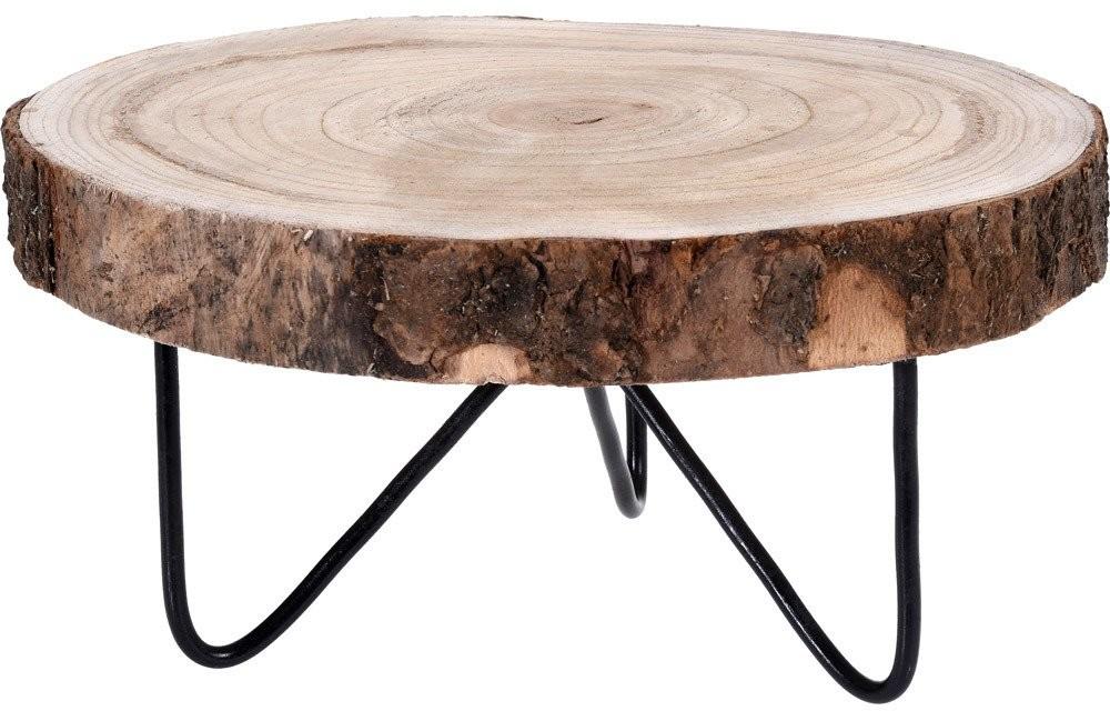 Home Styling Collection Niski stolik kawowy okrągły pień drewna 30 cm CAZ100590