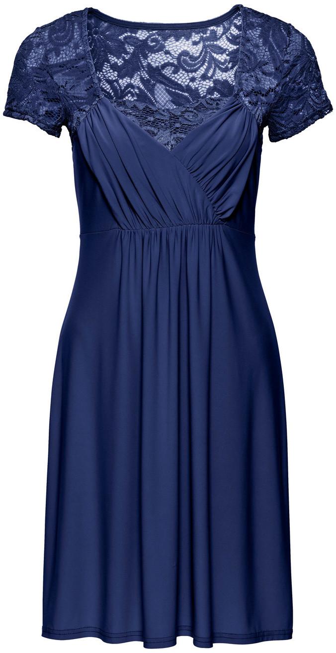 81539d8be3 Bonprix Sukienka z dżerseju z koronką ciemnoniebieski