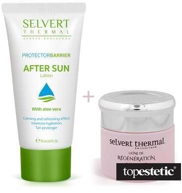 Selvert Thermal Selvert Thermal Regenerating Cream With Snail Protein Extract + After Sun Lotion ZESTAW Krem regenerujący z wyciągiem z białka ślimaka 50 ml + Balsam po opalaniu 75 ml
