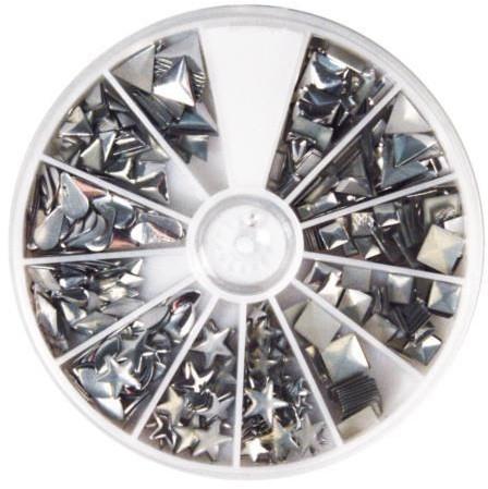 Nity hot-fix, mix kształtów, 2,5-10 mm, srebrny, op. 420 szt. [38-643-606] 38-643-606