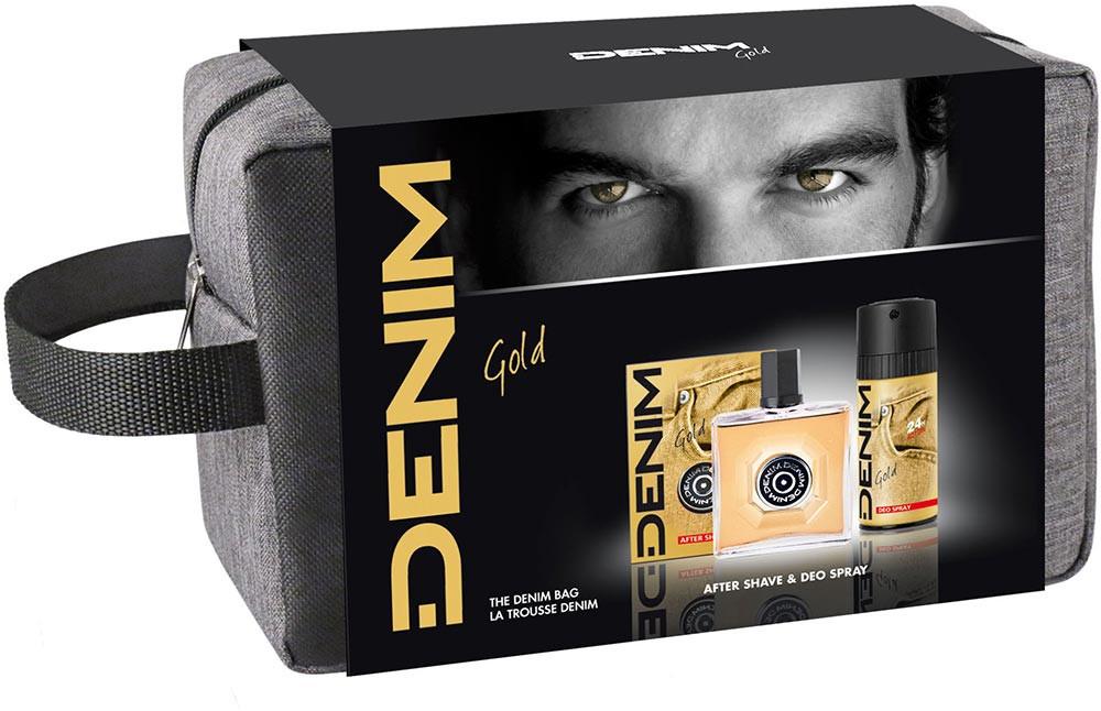 Denim Denim zestaw Gold woda po goleniu 100ml + dezodorant 150ml + kosmetyczka