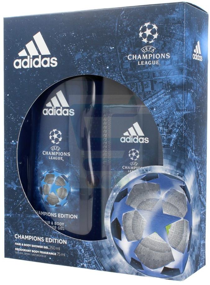 Adidas UEFA Champions League Zestaw Żel pod prysznic 2w1 250 ml + Dezodorant w atomizerze 75 ml