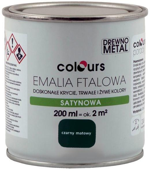 Colours Emalia ftalowa  czarna matowa 0 2 l