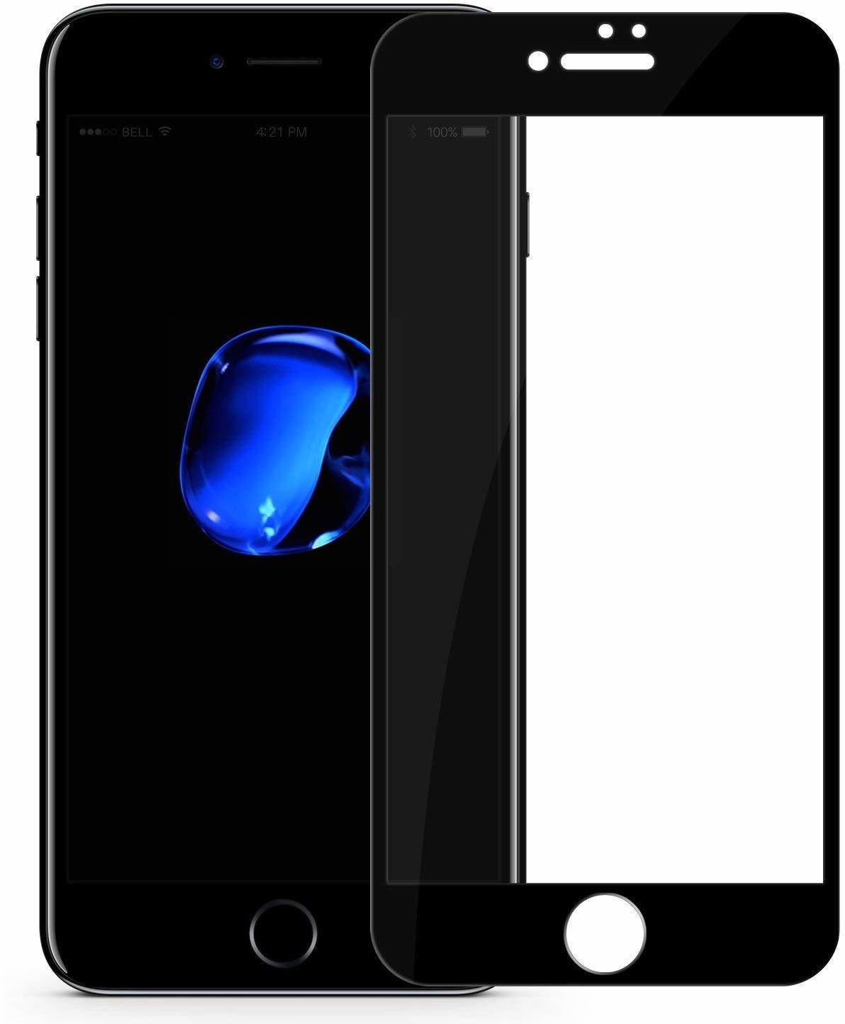 Blueo Mr. Monkey Glass 5D Strong HD Szkło Hartowane 9H Na Cały Ekran iPhone 8 / 7 / 6S / 6 (Czarna Ramka)