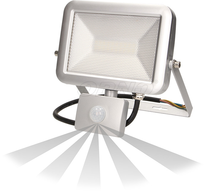 Orno Naświetlacz SLIM LED 20W IP65 z czujnikiem ruchu srebrny OR-NL-380GLR5