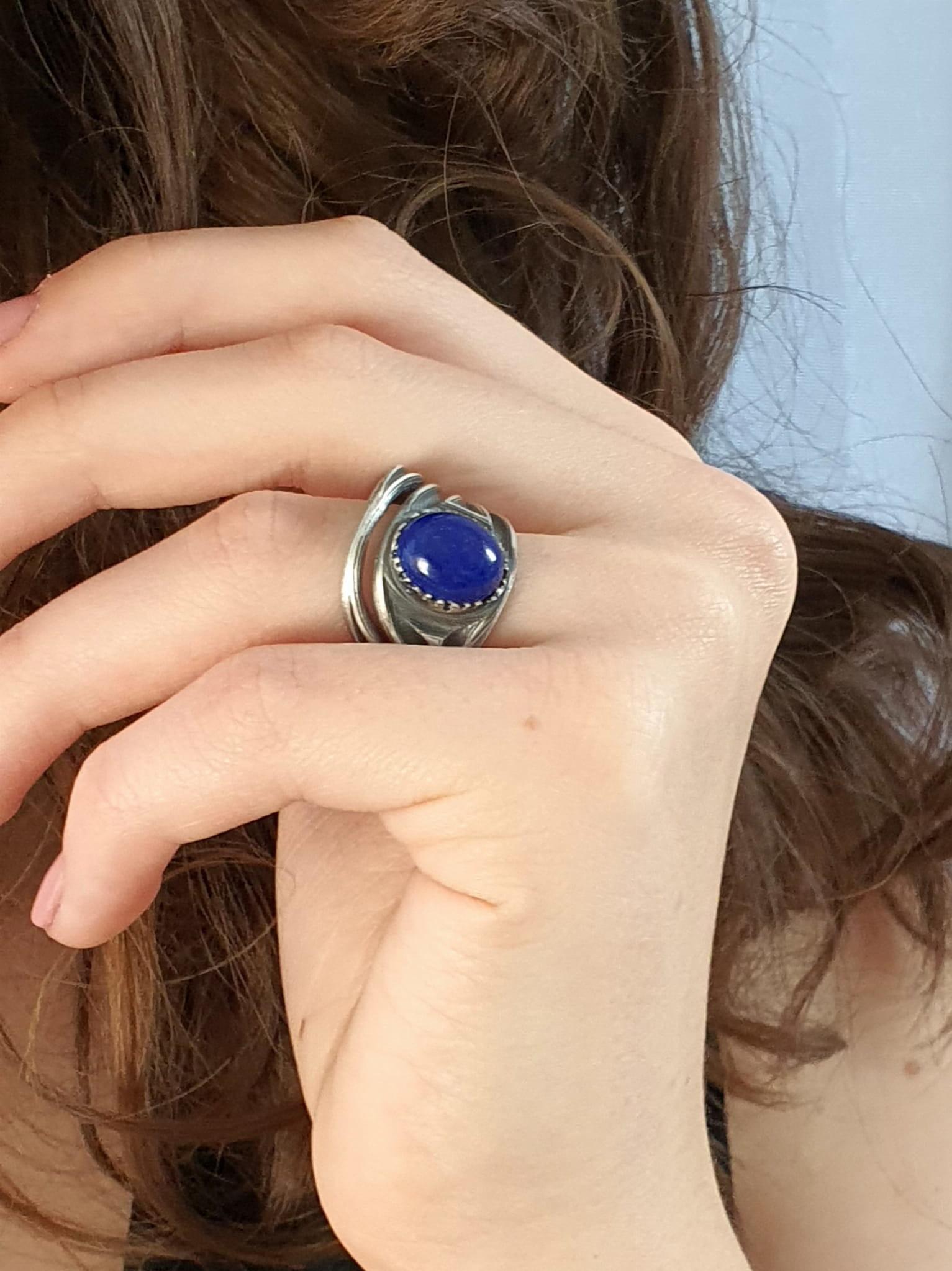 Venus Galeria Gwiaździste niebo - pierścionek srebrny  z lapis lazuli