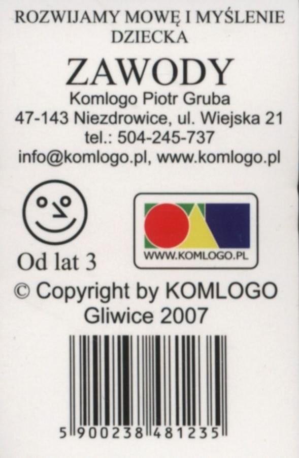 Komlogo Komlogo, karty logopedyczne, Rozwijamy mowę i myślenie dziecka, Zawody