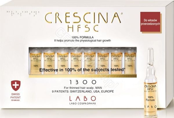 Labo Cosprop Crescina Hfsc 100% Re-Growth 1300 zaawansowana faza przerzedzenia włosów dla mężczyzn x 10 amp produkt dostępny na zamówienie czas oczekiwania 3-5 dni roboczych