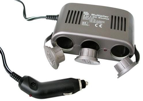 Eufab gniazdko eufab 165663do 1, 12V, z 10tworzenie kopii zapasowych, a kontrolna dioda LED jako wskaźnik zasilania bateryjnego, 1m przewód do zapalniczki samochodowej 16566