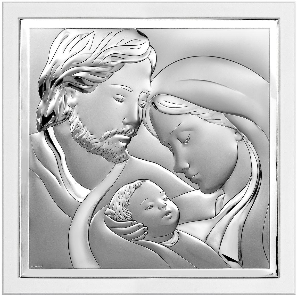 Beltrami Obrazek Święta Rodzina na białym drewnie   Rozmiar: 14x14 cm   SKU: BC6651/2XW