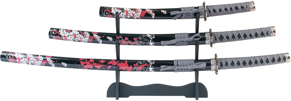 Master Cutlery Zestaw 3 Piece Samurai Sword Set ze stojakiem (SW-78-4)