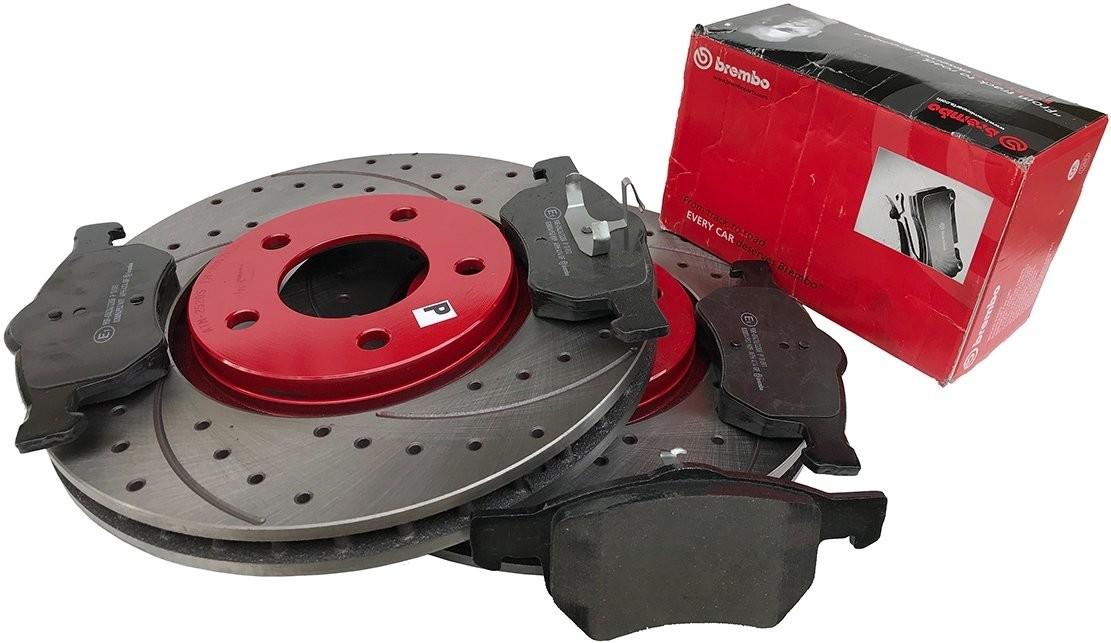 BREMBO Przednie klocki WIERCONE tarcze hamulcowe 303mm RED Chrysler Voyager 2001-2007 EUROPA PRT2001+P11013