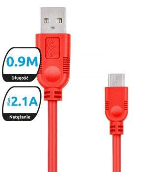 EXC Kabel USB 2.0 eXc WHIPPY USB A M micro USB B M 5-pin 0,9m czerwony KKE0KKBU0050