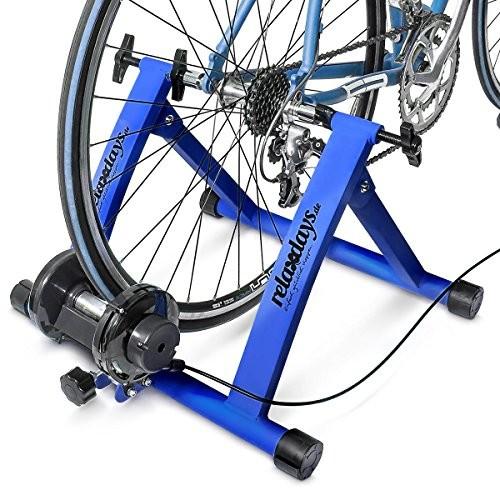Relaxdays trenażer rowerowy z 6 przerzutkami, odpowiedni dla rowerów z kołami 2628, maksymalne obciążenie 120 kg, ze stali, niebieski, standard 10018322_B