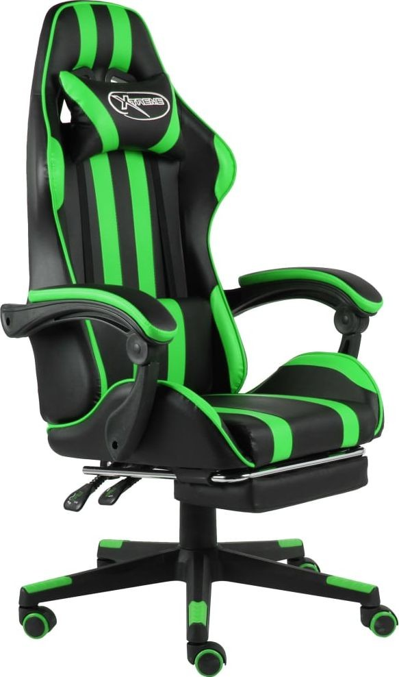 vidaXL Fotel dla gracza z podnóżkiem, czarno-zielony, sztuczna skóra (20529)