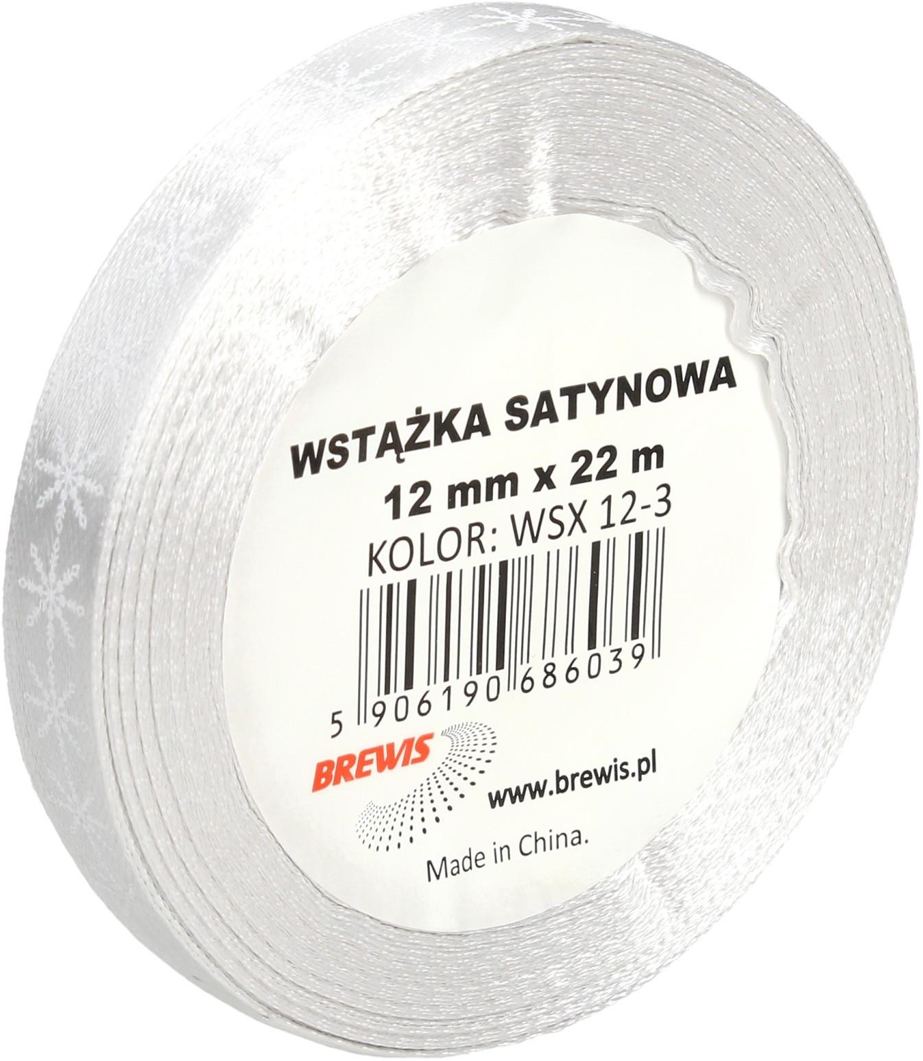 Brewis Wstążka satynowa 12mmx22m śnieżynki biało-srebrne