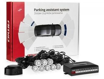 AMIO Czujniki parkowania AMiO z buzzerem 8 sensorów 22mm srebrne P22-5415