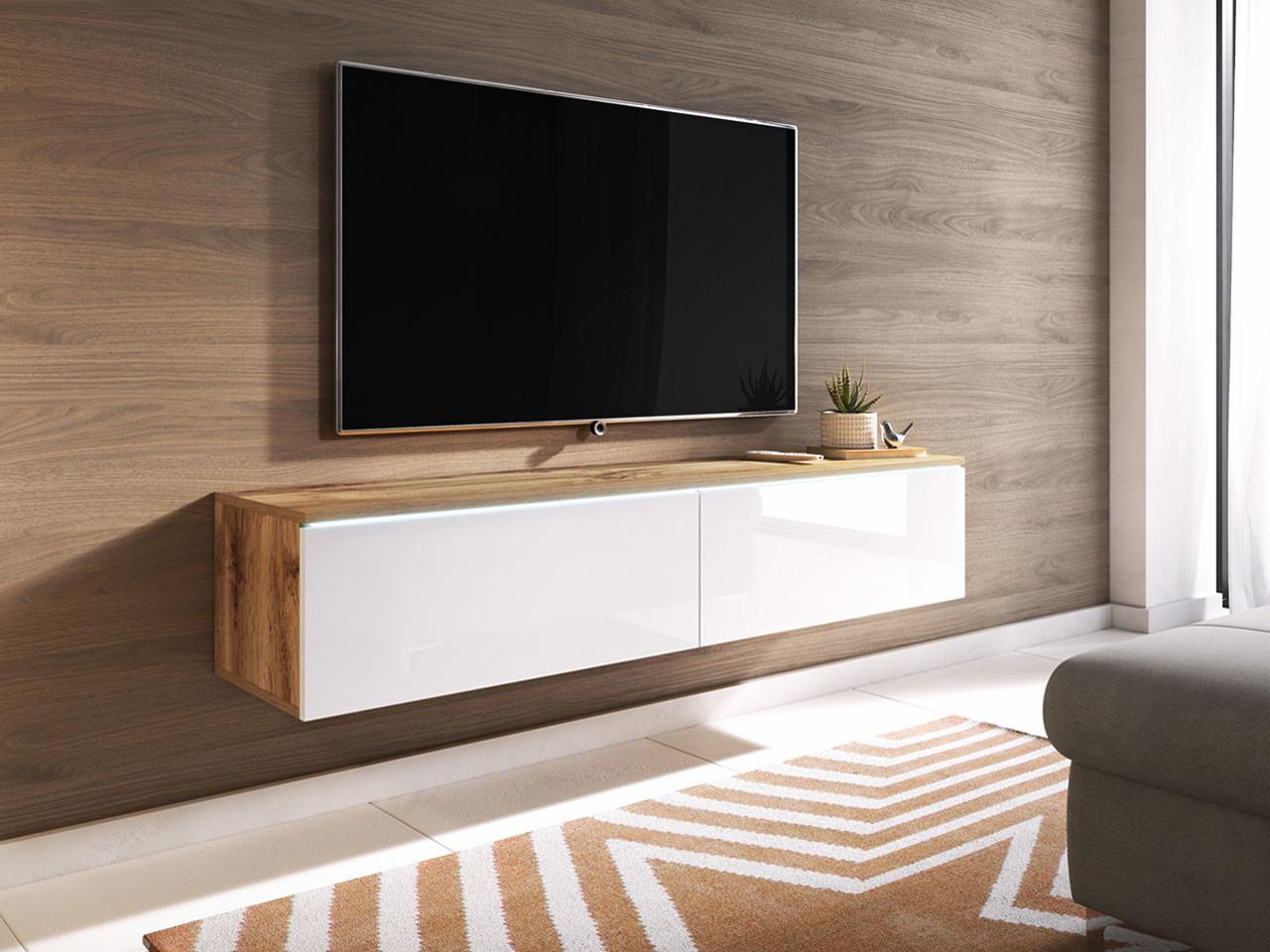 MKS MEBLE Szafka wisząca pod telewizor 140cm, opcja LED - Wotan/Biały LOWD1400W
