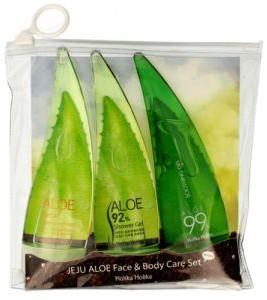 Holika Set Jeju Aloe Face&Body Care Set żel aloesowy do pielęgnacji 55ml + oczyszczająca pianka 55ml + żel aloesowy pod prysznic 55ml