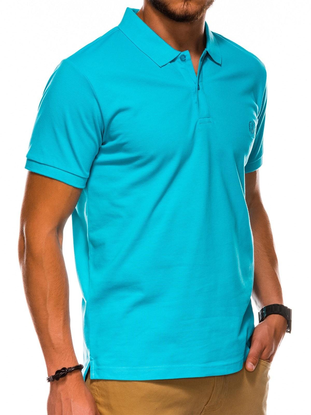 Ombre Clothing Koszulka męska Polo bez nadruku S1048 - turkusowa