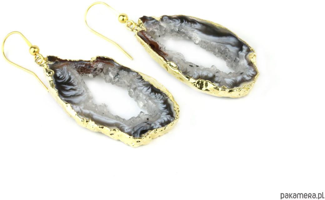 Earrings Plastry Geody Agatu Złoto
