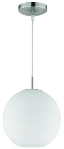 Reality Leuchten Reality lampy lampa wisząca lampa wisząca w Niklowo-matowa, szkło opal biały, 1X E27maks. 60W bez źródeł światła, średnica 25cm, zawieszenie maksymalnie 150cm r30152507 R30152507