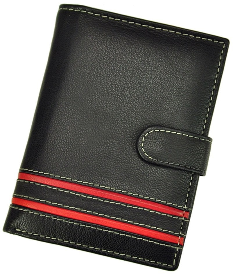 Pellucci Portfel męski skórzany N4L-SGT Czarno czerwony - czarny / czerwony N4L-SGT czarny + czerwony-0