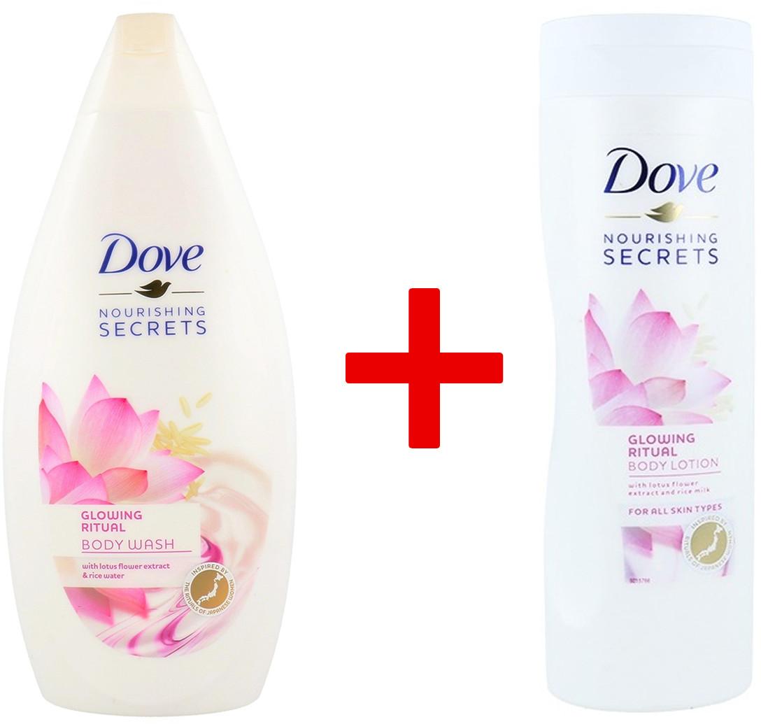 Dove 1+1 Body Wash Żel Pod Prysznic Glowing Ritual With Lotus Flower Extract 500ml + Balsam Do Ciała Glowing Ritual Cream And Lotus Flower 400ml