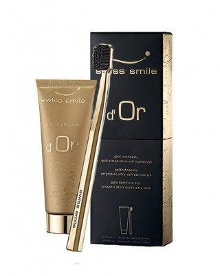 swiss smile swiss smile d´Or Gold zestaw 75ml Gold Toothpaste + 1szt Ultra Soft Toothbrush Gold Plated unisex