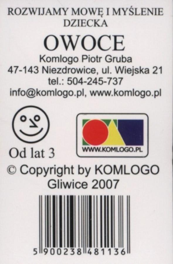 Komlogo Komlogo, karty logopedyczne, Rozwijamy mowę i myślenie dziecka, Owoce