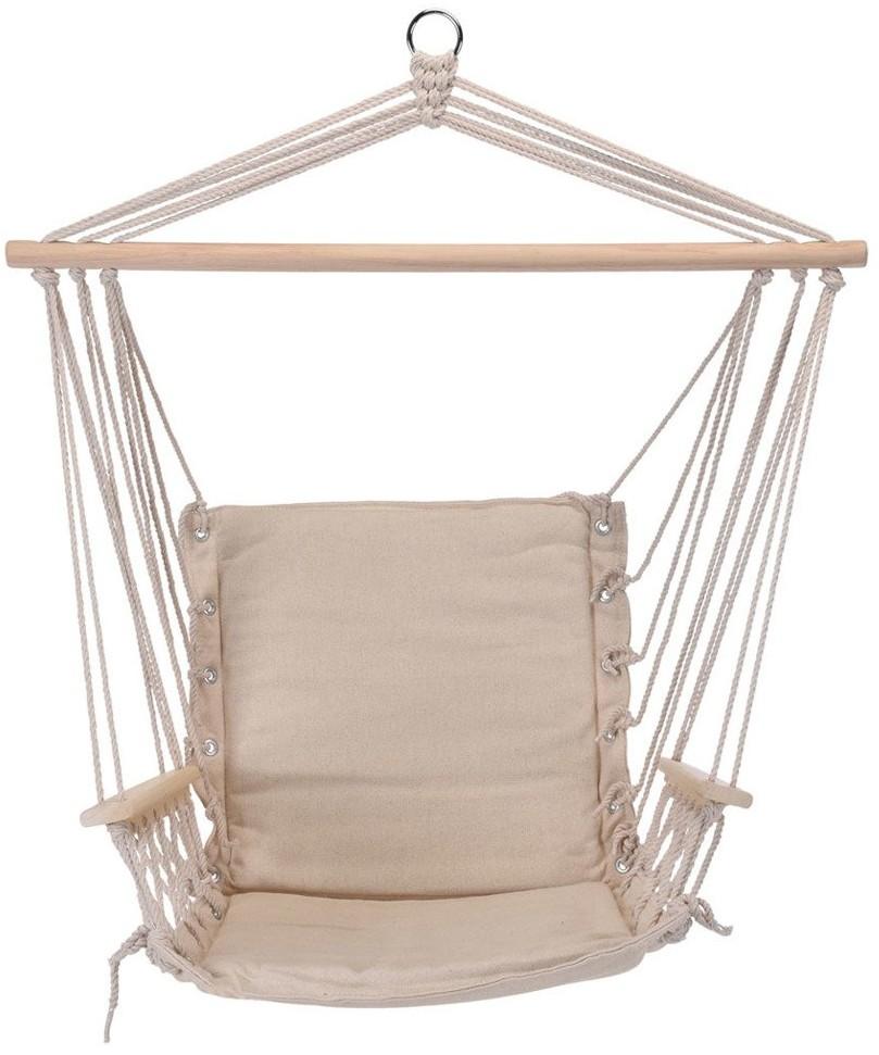 ProGarden Brazylijskie krzesło wiszące z podłokietnikami beżowy hamak jednoosobowy do domu lub ogrodu X39500330-beżowy