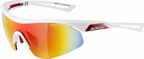 Alpina Nylos Shield okulary sportowe (kolor: 310 White/red, Ceramic Mirror, szybka: red Mirror (S3)) (A863424031001)