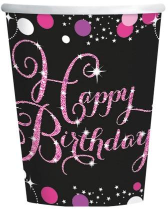 Amscan Kubki Urodziny Błyszczące róż 8 szt. 9900573
