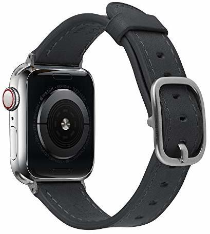 Apple Devia Bransoletka skórzana do zegarka Watch, 44 mm, czarna