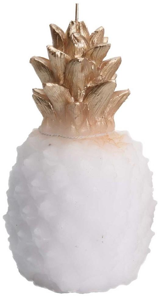 Home Styling Collection Ozdobna świeca ananas w białym kolorze ze złotymi akcentami rzeźbiona świeca glamour do dekoracji ACC004560-biały