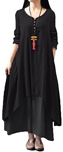 1847cdfd30 Boho romacci damskie topór tymczasowe luzem sukienka mocno z długim rękawem Lang  Maxi sukienka S-