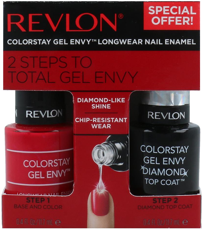 Revlon 2 Steps To Total Gel Envy Zestaw Długotrwały Lakier Do Paznokci + Diamond Top Coat 620 Roulette Rush