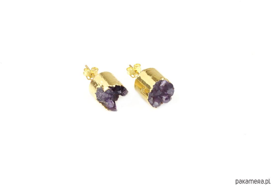 Earrings Agat Druza Fioletowa złoto